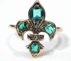 Wow, this is beautiful! Antique Emerald & Diamond Fleur De Lis Ring, c. 1850