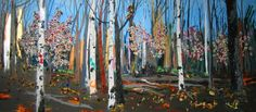 tree paintings using real wood glued on, by kim dorland, an alberta born painter who currently resides in toronto! great use of current canadian artists...