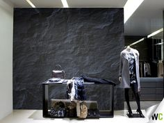 Black stone wall mural, ideal for a retail environment!