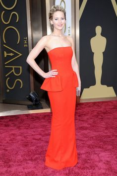 Jennifer Lawrence Red Dress Oscar 2014
