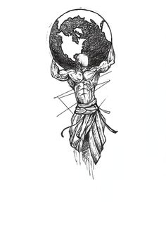 Tattoo idea tattoo idea mythology tattoos, tattoo designs et tattoo Kunst Tattoos, Body Art Tattoos, Sleeve Tattoos, Strong Tattoos, Black Tattoos, Tattoo Sketches, Tattoo Drawings, Gott Tattoos, Erde Tattoo
