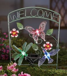 Solar Hummingbird Garden Welcome Stake