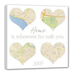 Custom 4 part square heart map canvas / by GeezeesCustomCanvas