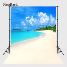 NeoBack 5x7ft Poly Vinyl Summer Sea Beach View Photo Backgrounds Photo Studio Indoor Computer Printed Children Backdrops P2320 #Affiliate