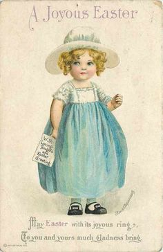 Girl In Early Easter Dress Hat^Joyous Easter^Early Vintage Postcard Easter Art, Easter Crafts, Vintage Greeting Cards, Vintage Postcards, Vintage Images, Fete Pascal, Images Victoriennes, Easter Wishes, Easter Parade