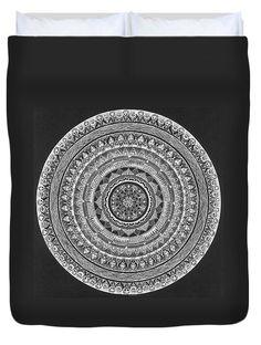 Duvet Cover featuring the drawing Meditative Mandala by Ajanta Roy Chaudhury