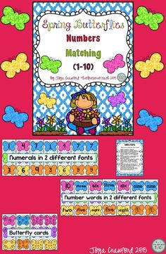 Are you looking for numeracy practice for your preschoolers through first graders? This resource provides practice with matching numerals, number words, and quantities (counting objects) with the numbers 1-10 in a fun spring butterflies theme. Numerals and number words are provided in 2 different fonts to provide students practice recognizing the 2 different ways the number 1 and 4 can be written. A full page of ideas for how to use this resource is included.