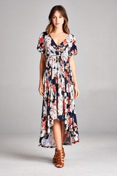 Gorgeous hi-lo floral wrap maxi dress. - Faux wrap - Waist Tie - a7eefd4ac