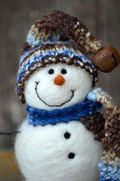Snowman Needle Felted Solid Wool 428 by BearCreekDesign on Etsy