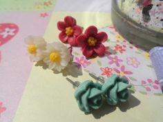 *Dream* Blumen Ohrstecker Weiß Pink Grün von Happy Lilly auf DaWanda.com