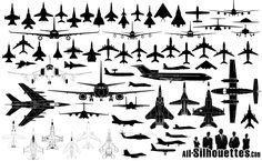50 Airplane Silhouettes