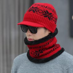 97508a0a Men Winter Wool Plush Knit Thick Windproof Warm Vintage Outdoor Ski Cycling  Beanie Scarf Set is hot sale on Newchic.
