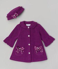 Purple Polka Dot Bow Hat & Coat - Infant, Toddler & Girls by Gerson & Gerson #zulily #zulilyfinds