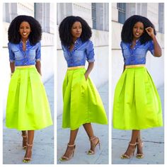 Fitted denim skirt and pleated midi skirt
