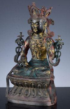 CHINESE LAQUERED BRONZE BUDDHA FIGURE Buddha Figures, Oriental, Antique Rare, Bronze, Asian Art, Buddhism, Chinese, Statue, Vintage