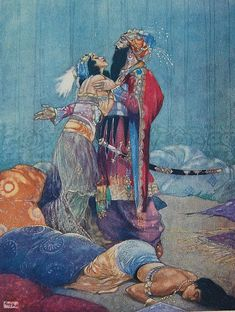 "Illustration for the ballet ""Scheherazade"" in The Russian Ballet by A. E. Johnson. Illustration by René Bull."