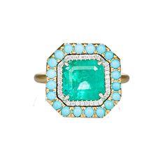 Yellow gold, emerald, diamond and turquoise ring. Irene Neuwirth $15040! Keep dreaming!!