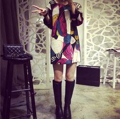 2015 Fashion European Style Women Dress Vintage Print Graffiti Kontrast Farba dlhým rukávom Jeseň Zima dámske šaty -v šiat z Dámske oblečenie a doplnky na Aliexpress.com | Alibaba Group