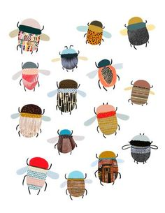is an original digital art print by Elise Gravel .Each x 11 inch archival quality giclée print is a signed and numbered limited edition Art Du Collage, Art Gallery, Art Watercolor, Bug Art, Insect Art, Grafik Design, Cute Illustration, Digital Illustration, Art For Kids