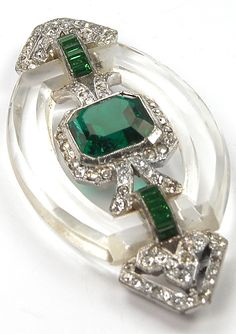 KTF Trifari 'Alfred Philippe' Pave and Invisibly Set Emeralds Crystal Circlet Bar Pin, 1935