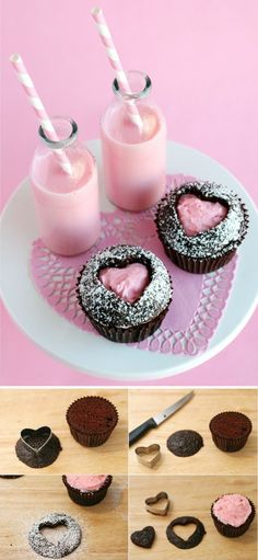 Cupcakes decorate with pink cream and icing sugar - Candy Bar - # Pumpkin Spice Cupcakes, Oreo Cupcakes, Cheesecake Cupcakes, Cupcake Cakes, Chocolate Cupcakes, Easy Smoothie Recipes, Snack Recipes, Dessert Recipes, Sugar Candy