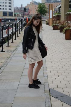Get this look: http://lb.nu/look/8291377  More looks by Hollie .S.: http://lb.nu/hollie_closet_daily  Items in this look:  Zara Dress, All Saints Leather Jacket, Puma Trainers   #bohemian #casual #grunge