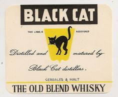 LABEL ETIKETT FRANCE THEME BLACK CAT MINT UNUSED ORIGINAL WHISKY