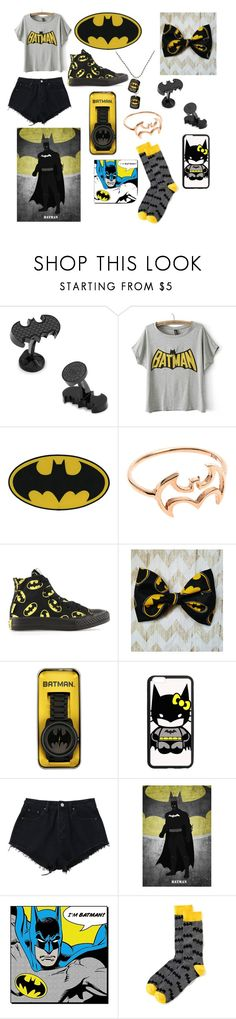 """Batman💛"" by emilyzoe04 ❤ liked on Polyvore featuring beauty, Cufflinks, Inc., Converse, DC Comics, Hello Kitty and Old Navy"