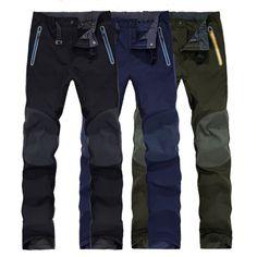 Pantalones Soft Shell al aire libre Hombre impermeable a prueba de viento deportes elásticos caminando pantalones de escalada