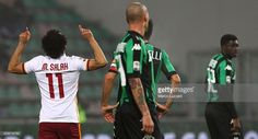 Mohamed Salah (L) of AS Roma during the Serie A match between US Sassuolo Calcio and AS Roma at Mapei Stadium - Città del Tricolore on February 2, 2016 in Reggio nell'Emilia, Italy.