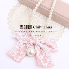 Free shipping Korean complex Gulei Si pearl bow big exaggeration sweet pearl necklace sweater chain length Korean female - Taobao