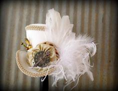 White Rabbit in Gold, Alice in Wonderland Hat, Mad Hatter Hat, Renaissance, Cog and Gear Hat, Steampunk, Tea Party Hat, Bridal Shower Hat