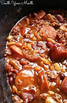 Three Meat Crock Pot Cowboy Beans - BBQ Beans with Smoked Sausage, Bacon and Ground Beef Cowboy Baked Beans, Baked Beans With Bacon, Cowboy Beans, Baked Beans Crock Pot, Crock Pot Sausage, Beans In Crockpot, Baked Bean Chili Recipe, Baked Beans Recipe With Sausage, Crock Pot Gumbo