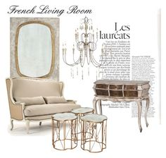 """""""Vintage French Living Room"""" by belleescape ❤ liked on Polyvore featuring interior, interiors, interior design, home, home decor, interior decorating, Chanel, living room, modern and vintage"""