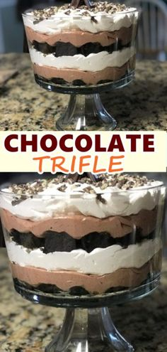 CHOCOLATE TRIFLE This is an easy, delicious, and pretty dessert. If you opt to use a trifle bowl as opposed to a regular glass bowl, you might want to third the brownies and pudding mix instead of half them for the layers. Chocolate Trifle Desserts, Ww Desserts, Health Desserts, Chocolate Cake, Dessert Recipes, Trifle Bowl Desserts, Chocolate Triffle Recipe, Brownie Trifle, Snacks Recipes