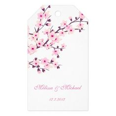 Perfect for your bridesmaids and groomsmen gifts all with a Spring Wedding theme:   Floral Cherry Blossoms Gift Tags - click/tap to see the slideshow for related designs