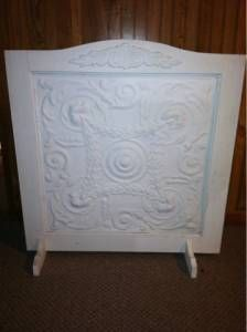 fireplace screen from tin ceiling tile