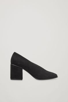 COS image 1 of Chunky heel suede pumps in Black