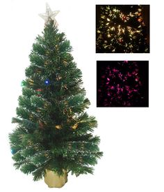 3' Multi-Color Fiber Optic Christmas Tree w/ Quarter 12 LED Lights and Top Star by Merske