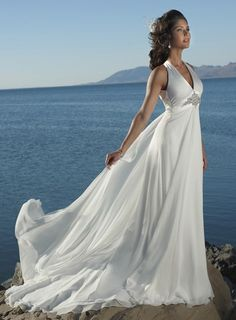 V-neck  Criss-Cross Straps Chiffon Beach Destination Wedding Dress