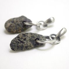 Granite Beach Stone Earrings Sterling Silver  -  Go Outside and Play #stonz  By SToNZ on Etsy