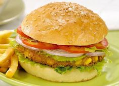 Indian style Paneer Burger A delicious Paneer Burger, best serve with french fries.