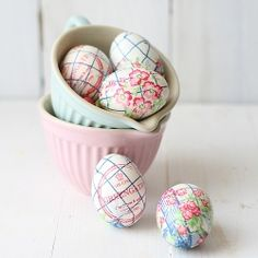 Easter Eggs (hard boiled eggs decorated with paper napkins)