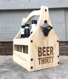 What time is it?!! Take your tailgate, wedding, picnic, or party to the next level with a beautifully crafted, rustic wooden beer caddy! Transport your (other) sexy six-pack in style! Pair the caddy with an order of our BEER THIRTY coaster sets for more fun. Our bottle-totes are