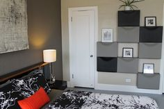 a wall of gray and black ikea trones is a stylish and cheap bedroom storage solu. a wall of gray and black ikea trones is a stylish and cheap bedroom storage solution Ikea Bedroom, Bedroom Storage, Home Decor Bedroom, Bedroom Hacks, Bed Ikea, Mirror Bedroom, Bedroom Ideas, Ikea Storage, Storage Hacks
