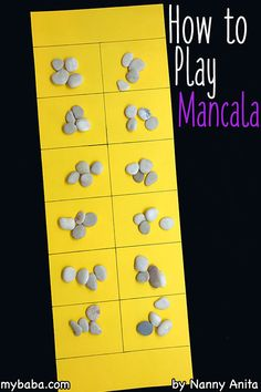 Gus had fun losing. How to play mancala. A strategy game that is fun for children and adults. Dice Games, Activity Games, Math Games, Fun Games, Games To Play, Youth Activities, Classroom Games, Therapy Activities, Play Game Online