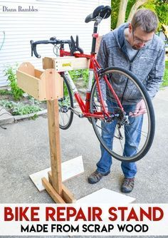 DIY Bike Repair Stand Tutorial – Need a bike stand, but don't want to shell out some bucks for one? Learn how to make a bicycle repair stand out of wood scraps. This frugal project goes together quickly and will help you to make adjustments to your bike. Bike Stand Diy, Bike Work Stand, Bike Repair Stand, Bicycle Stand, Bike Stands, Homemade Bike Stand, Rack Velo, Pimp Your Bike, Downhill Bike