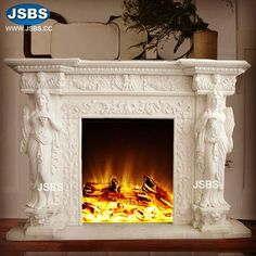 Marble Sculpture Fireplace Mantel www.jsbluesea.com info@jsbluesea.com whatsapp wechat:0086-13633118189 #homedecor #housedecor #fireplace #fireplacemantel #chateaudecoratin #jsbsmarble #jsbsstone #JSBS Marble Fireplace Mantel, Marble Fireplaces, Fireplace Mantels, Marble Columns, Stone Columns, Chinese Valentine's Day, Marble Carving, Stone Fountains, Stone Veneer