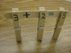 Kids develop math concepts and fine motor skills as they build math facts using clothespins and craft sticks! (Free ideas also included for helping kids work with fact families and missing addends.) used PreK classroom math/everyday life centers