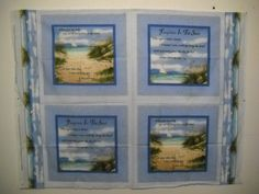 Footprints in the Sand Fabric Pillow Panel God Sailboat Seagulls 46x35 New by SeaPillowTreasures on Etsy